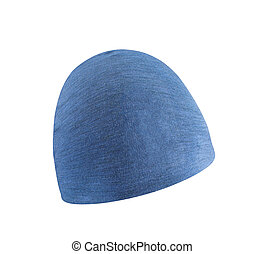 Blue knitted wool hat isolated on white background
