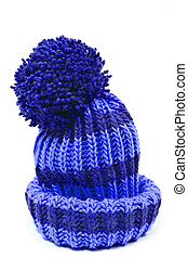 blue knitted woolen hat isolated on white background
