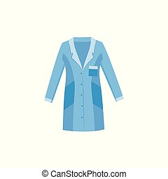 Blue lab coat for doctor, nurse or scientist, medical professional clothes for work in laboratory, health and healthcare uniform garment, flat isolated vector illustration on white background.