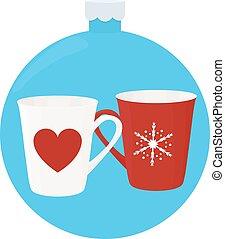 blue labda, csésze, dísztárgyak, év, új, karácsonyfa