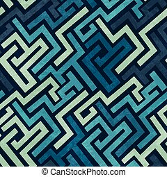 blue labyrinth seamless texture with grunge effect