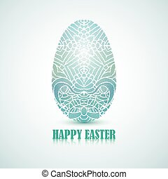 Blue lace egg with unique ornament. Classic card for Easter greeting.