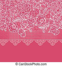 Blue lace flowers horizontal seamless pattern background border