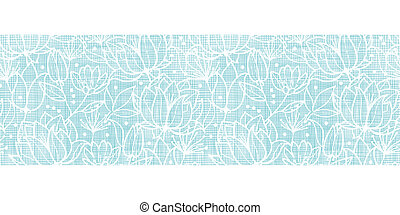 Blue lace flowers textile horizontal border seamless pattern background