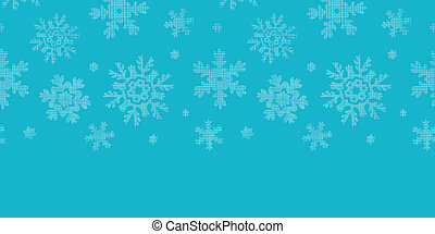Blue lace snowflakes textile horizontal border seamless pattern background