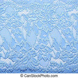 Blue lace with pattern in the manner of colour on white background