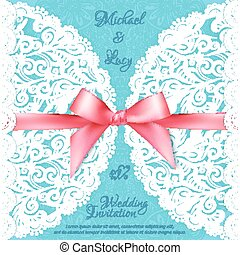 Blue lacy vector wedding card template