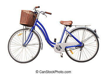 blue ladies bicycle isolate on white background
