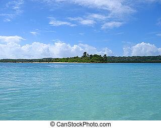 Blue lagoon from Nattes island, Nosy Boraha, Sainte, Marie island, Madagascar
