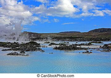 Blue lagoon, Iceland, a geothermal bath resort.