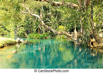 Blue Lagoon in Vang Vieng, Laos. Travel destination with clear water and tropical landscape.