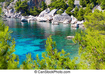 paradise in Adriatic Sea of Croatia, Hvar. - Blue lagoon,...