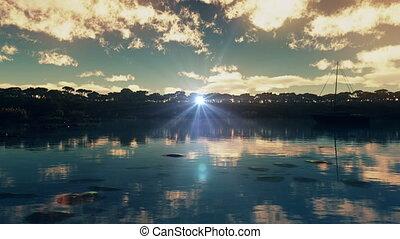 blue lagoon port sunset 4k