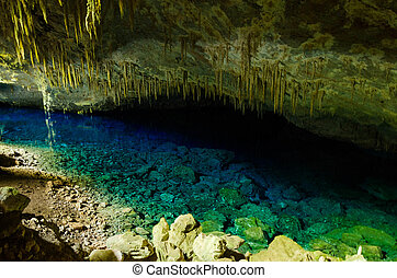 Blue Lake Grotto in Bonito, Mato Grosso do Sul, Brazi.