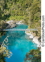 Blue lake Hokitika in tropical jungle New Zealand natural landscape