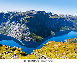 Blue lake in Norway near Trolltunga