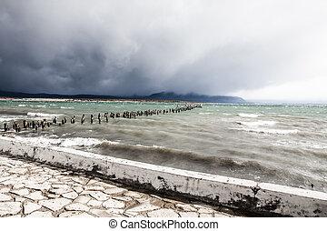 Blue lake in Patagonia Chile