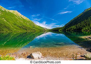 Blue Lake Morskie Oko and the green mountains of Tara, Poland
