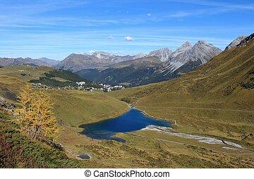 Blue lake Schwellisee and Arosa