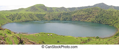 Blue lake with green grass around - Cameroon - Africa - Panorama.