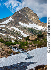 Blue Lake's outlet stream with Mt Toll in the background Colorado Indian peaks wilderness