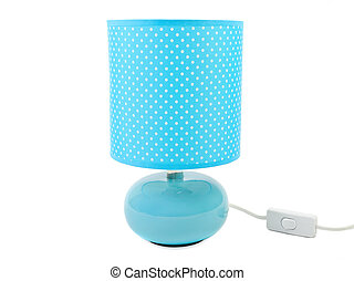 Blue lamp on a white background.