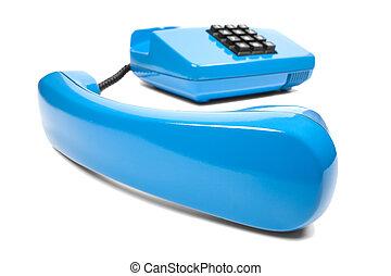 Blue landline phone on a isolated white background
