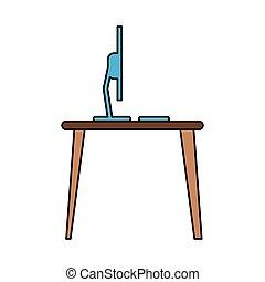 blue laptop desk workplace job graphic