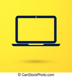Blue Laptop icon isolated on yellow background. Computer notebook with empty screen sign. Vector Illustration