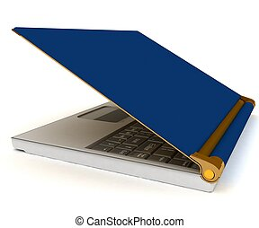 blue laptop isolated over white background