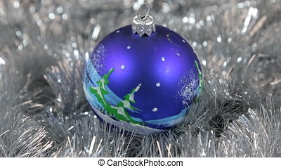 Blue large New Year and Christmas decorations glass ball...