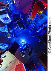 Blue laser in a quantum optics lab.