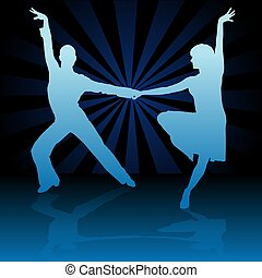 Blue Latino Dance - detailed colored illustration