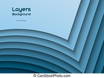 Blue Layeres - Blue background as many wavy layers. Vector...