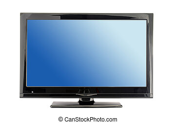 lcd tv monitor - blue lcd tv monitor isolated on white...