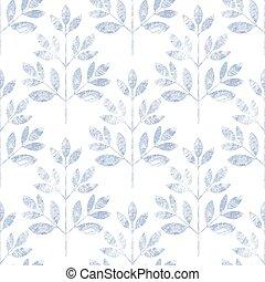 Blue leaf seamless pattern on white