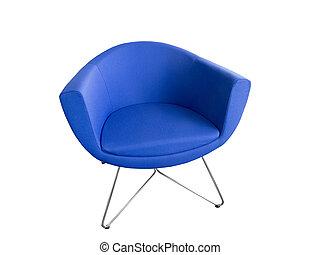 Blue leather armchair.