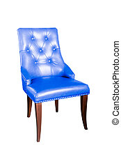 blue leather chair isolated on white with clipping path