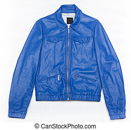 Blue leather jacket with zipper on white background