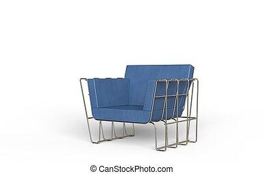Blue leather modern armchair
