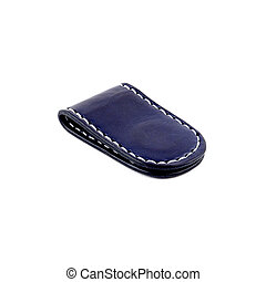 Blue leather money clip