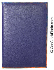 blue leather notebook isolated on white with clipping path