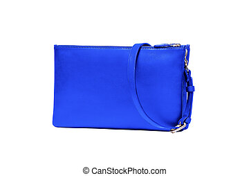 Blue Leather Purse isolated on white
