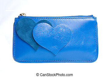 blue leather purse with hearts isolated on white