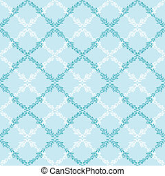 Blue leaves abstract diamond seamless pattern background
