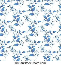 blue leaves seamless pattern