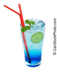 Blue lemonade cocktail on a white background