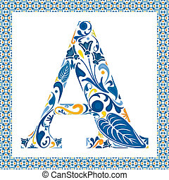 Blue floral capital letter A in frame made of Portuguese tiles