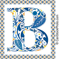 Blue floral capital letter B in frame made of Portuguese tiles