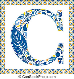 Blue letter C - Blue floral capital letter C in frame made...